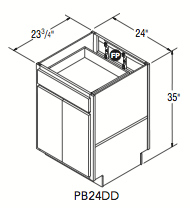 "PENINSULA BASE DOUBLE DOOR (24""W x 35""H x 23.75""D)"