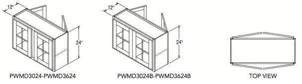 "PENINSULA WALL W/MULLION DR (30""W x 24""H x 12""D)"