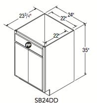 """SINK BASE DOUBLE DOOR (24""""W x 35""""H x 23.75""""D)"""