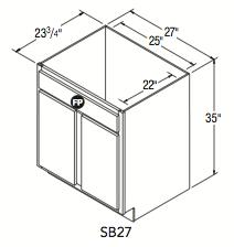 """SINK BASE (27""""W x 35""""H x 23.75""""D)"""