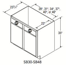 """SINK BASE (30""""W x 35""""H x 23.75""""D)"""