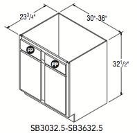 "SINK FRONT 32.5 (30""W x 32.5""H x 23.75""D)"