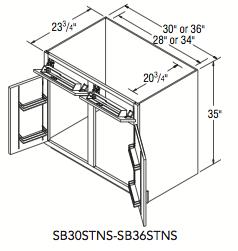 "SINK BASE SUPERCAB NO SHLF (30""W x 35""H x 23.75""D)"