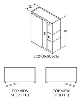 """SQUARE CORNER WALL (24""""W x 36""""H x 12""""D)"""