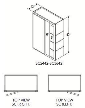 """SQUARE CORNER WALL (24""""W x 42""""H x 12""""D)"""