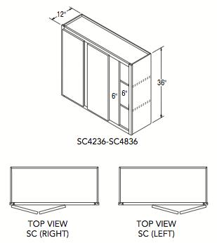 """SQUARE CORNER WALL (42""""W x 36""""H x 12""""D)"""