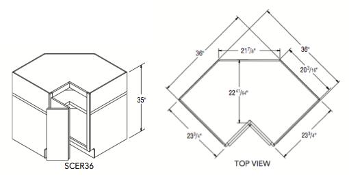 "SQUARE CORNER EASY REACH (36""W x 35""H x 23.75""D)"