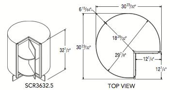 """SQ CORNER ROTO 32.5 (36""""W x 32.5""""H x 23.75""""D)"""
