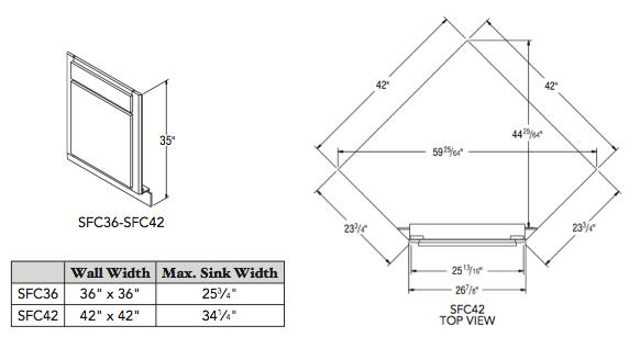 """SINK FRONT CORNER (42""""W x 35""""H x 4""""D)"""