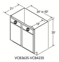 "VANITY CONSOLE BASE (36""W x 35""H x 21""D)"