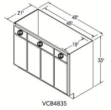 "VANITY CONSOLE BASE (48""W x 35""H x 21""D)"