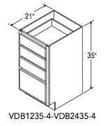 """VANITY DRW BASE W/4 DRWS (12""""W x 35""""H x 21""""D)"""