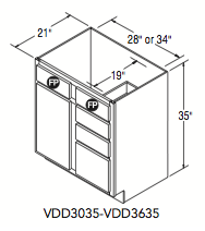 """VANITY DOOR AND DRAWER (30""""W x 35""""H x 21""""D)"""