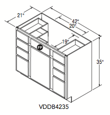 "VANITY DOUBLE DRAWER BASE (42""W x 35""H x 21""D)"