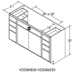 "VANITY DOUBLE DRAWER BASE (48""W x 35""H x 21""D)"