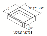 """VANITY DRAWER TRIMMABLE (27""""W x 6.75""""H x 21""""D)"""