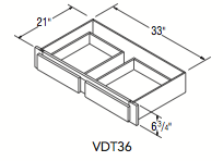 """VANITY DRAWER TRIMMABLE (36""""W x 6.75""""H x 21""""D)"""