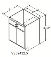 "VANITY SINK BASE (24""W x 32.5""H x 21""D)"