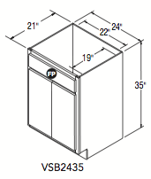 "VANITY SINK BASE (24""W x 35""H x 21""D)"