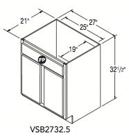 "VANITY SINK BASE (27""W x 32.5""H x 21""D)"