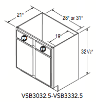 "VANITY SINK BASE (30""W x 32.5""H x 21""D)"