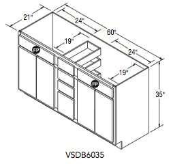 "VANITY SINK DRAWER BASE (60""W x 35""H x 21""D)"