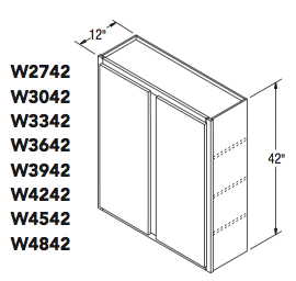 "WALL CABINET (27""W x 42""H x 12""D)"