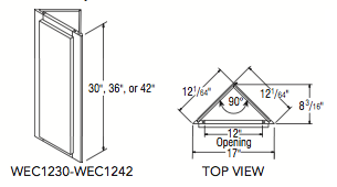 """WALL END CABINET 42"""" HIGH (12""""W x 42""""H x 12.015625""""D)"""
