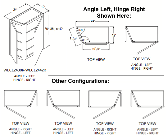"""WALL END CABINET (24""""W x 42""""H x 12""""D) Angle Left, Hinge Left"""