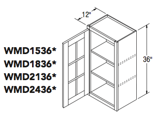"""WALL CABT W/MULLION DOOR (15""""W x 36""""H x 12""""D)"""