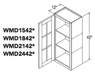 """WALL CABT W/MULLION DOOR (15""""W x 42""""H x 12""""D)"""