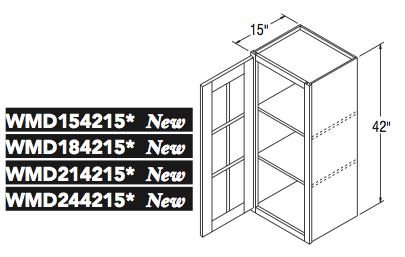 """WALL CABT W/MULL DOOR (15""""W x 42""""H x 15""""D)"""