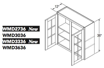 """WALL CABT W/MULL DOOR (27""""W x 36""""H x 12""""D)"""
