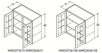 """WALL CABT W/MULL DOOR (27""""W x 36""""H x 15""""D)"""