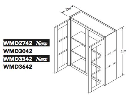 """WALL CABT W/MULL DOOR (27""""W x 42""""H x 12""""D)"""
