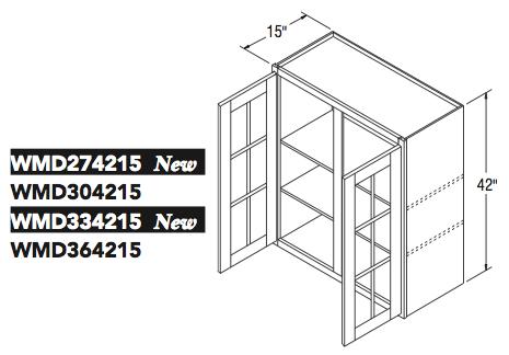 """WALL CABT W/MULL DOOR (27""""W x 42""""H x 15""""D)"""