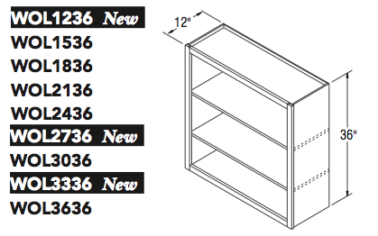 "WALL OPEN CABINET (12""W x 36""H x 12""D)"