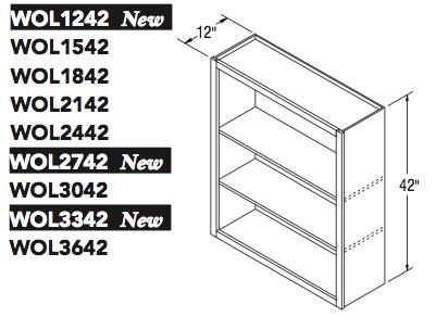 "WALL OPEN CABINET (12""W x 42""H x 12""D)"