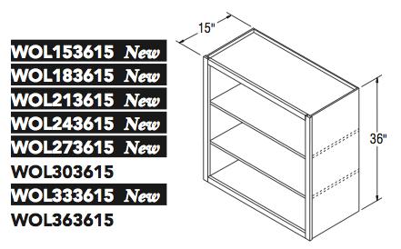 "WALL OPEN CABINET (15""W x 36""H x 15""D)"