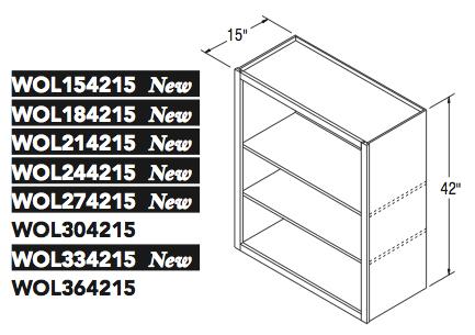 "WALL OPEN CABINET (15""W x 42""H x 15""D)"