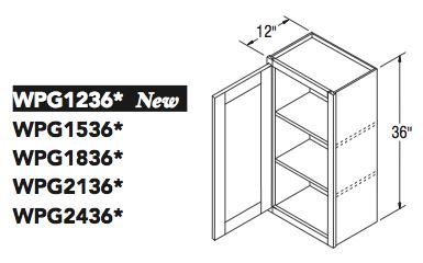 """WALL CABT PREP/GLASS (12""""W x 36""""H x 12""""D)"""