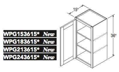 """WALL CABT PREP/GLASS (15""""W x 36""""H x 15""""D)"""