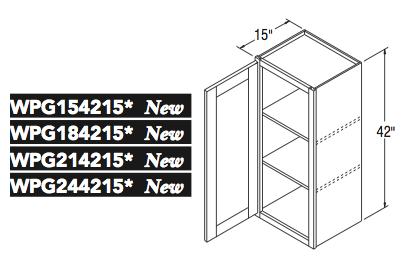 """WALL CABT PREP/GLASS (15""""W x 42""""H x 15""""D)"""