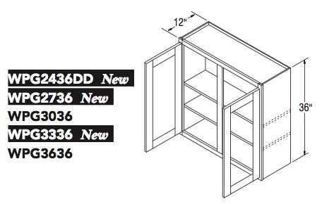 """WALL CABT PREP/GLASS (24""""W x 36""""H x 12""""D)"""