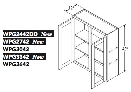 """WALL CABT PREP/GLASS (24""""W x 42""""H x 12""""D)"""