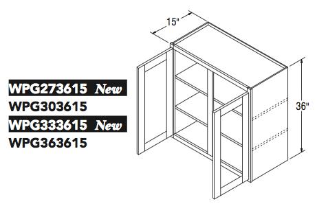 """WALL CABT PREP/GLASS (27""""W x 36""""H x 15""""D)"""