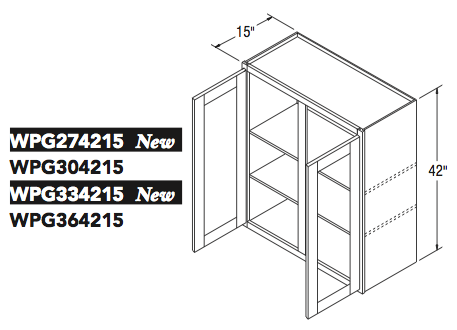"""WALL CABT PREP/GLASS (27""""W x 42""""H x 15""""D)"""