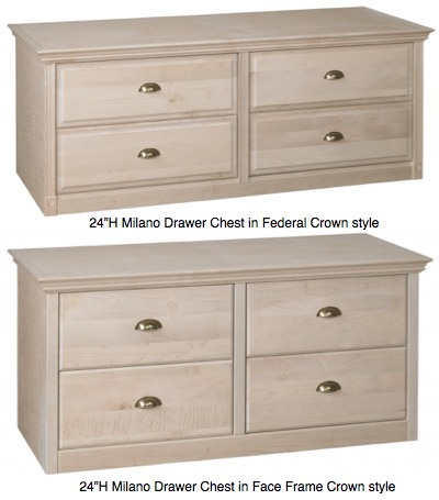 "AWB Milano Drawer Chest (-MDC2) 54""W x 24""H"