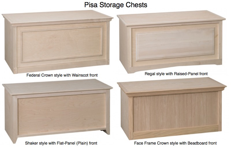 "AWB Pisa Storage Chest (-PSC1R) 36""W x 18""H with Raised Panel Front"