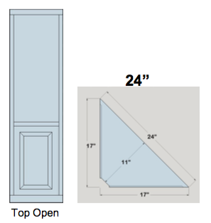 "AWB 3-Sided Corner Cupboard with Open Top (-3CC1) 24""W x 72""H x 11""D inside"